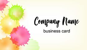 Vector Modern Creative and Clean Business Card Template with bright watercolor splash background and space for Company name.  stock illustration