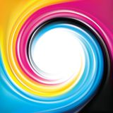 Vector swirl background of primary colors printing process CMYK. Vector modern creative eddy aqua backdrop pattern of vivid primary dye gamma full-colour Stock Photos