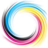 Vector swirl background of primary colors printing process: CMYK. Vector modern creative wonderful eddy aqua backdrop pattern of vivid primary dye gamma full Royalty Free Stock Photos