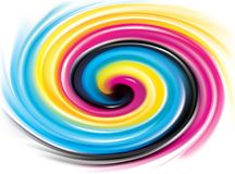 Vector swirl background of primary colors printing process: CMYK. Vector modern creative wonderful eddy aqua backdrop pattern of vivid primary dye gamma full Stock Images