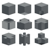 Vector modern dark cube icons set. On white background Royalty Free Stock Photo