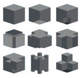 Vector modern dark cube icons set Royalty Free Stock Photo