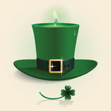 Vector modern design Saint Patrick's Day green candle hat. Vector modern design Saint Patrick's Day green candle hat with leaf happy smile shape concept Stock Images