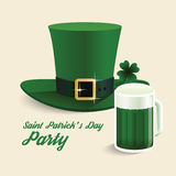 Vector modern design Saint Patrick's Day green hat with green. Stock Photos