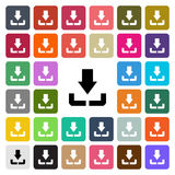 Vector modern Download flat design icon set in button Royalty Free Stock Photo