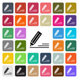Vector modern Edit flat design icon set in button Stock Photography