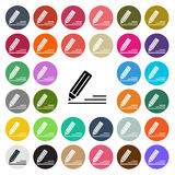 Vector modern Edit flat design icon set in button Royalty Free Stock Photography