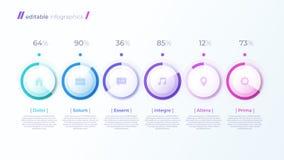 Vector modern editable infographic malplaatje met percentagediagrammen royalty-vrije illustratie