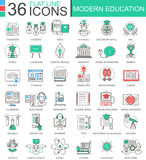 Vector Modern education color flat line outline icons for apps and web design. Internet education icons. stock illustration
