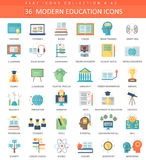 Vector Modern education flat icon set. Elegant style design. Vector Modern education flat icon set. Elegant style design Stock Photography
