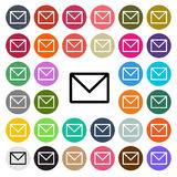 Vector modern email flat design icon set in button Stock Photo