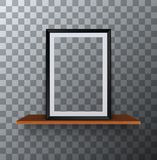 Vector modern empty frame standing on a wooden shelf Royalty Free Stock Images