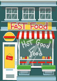 Vector modern fast food cafe. Detailed facade background in flat style, with big hamburger sticker Stock Photography