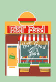 Vector modern fast food shop. Detailed facade background in flat style, with big burger sticker Royalty Free Stock Image