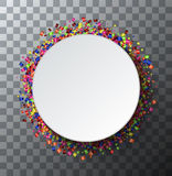 Vector modern festive poster. Confetti on transparent background Stock Photography