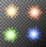 Vector modern fireworks set on sample background. Eps10 Stock Photos