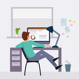 Vector modern flat character design on businessman Royalty Free Stock Image