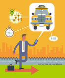 Vector modern flat creative concept illustration on business taxi service application Stock Photography