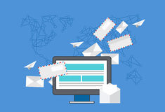 Vector modern flat design of email marketing Royalty Free Stock Photos