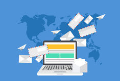 Vector modern flat design of email marketing Royalty Free Stock Images