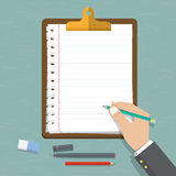 Vector modern flat design on hand holding pencil with empty sheet of paper . Classic brown clipboard with blank white paper Stock Photos