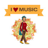 Vector modern flat design hipster wearing headphones listening Royalty Free Stock Photography