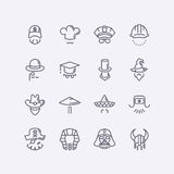 Vector modern flat design icons characters with different hats, beards, glasses and no face Stock Photos