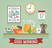 Vector modern flat design illustration of breakfast. Good mornin Royalty Free Stock Photos