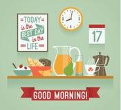 Vector modern flat design illustration of breakfast. Good mornin Royalty Free Stock Photos