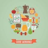 Vector modern flat design illustration of  Good morning. Royalty Free Stock Images