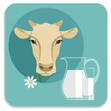 Vector modern flat design illustration of milk. Royalty Free Stock Photography