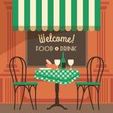 Vector modern flat design illustration of street cafe. Royalty Free Stock Images