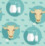Vector modern flat design seamless illustration of milk. Royalty Free Stock Image