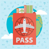 Vector modern flat design web icon on airline tickets and travel Stock Images