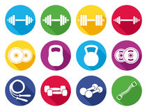 Vector Modern Flat Fitness and Gym Color Icons Stock Images