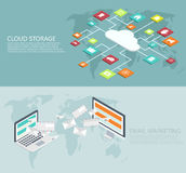 Vector modern flat isometric cloud storage, email marketing backgrounds Stock Photography