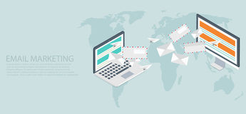 Vector modern flat isometric email marketing Stock Photo