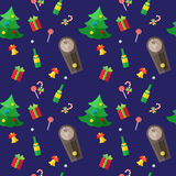Vector modern flat New Year seamless pattern Royalty Free Stock Image