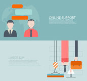 Vector modern flat online support or feedback, labor day backgrounds Royalty Free Stock Photos