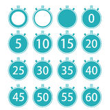 Vector modern flat stopwatch icons set on white Stock Image