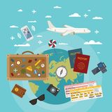 Vector modern flat style concept for tourism industry. Royalty Free Stock Photo
