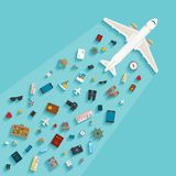 Vector modern flat style concept for tourism industry. Vector modern flat style concept for tourism industry, travelling on airplane, planning summer vacations Stock Photos