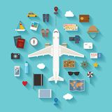 Vector modern flat style icons set for tourism industry. Royalty Free Stock Photography