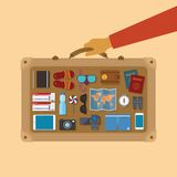 Vector modern flat style icons set for tourism industry. Royalty Free Stock Photos