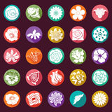 25 vector modern flowers icons - sets Royalty Free Stock Photo