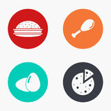 Vector modern food colorful icons set Royalty Free Stock Images
