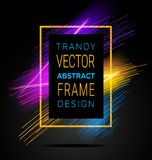 Vector modern frame with geometric neon glowing lines isolated on black background. Art graphics with glitch effect royalty free illustration
