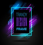 Vector modern frame with geometric neon glowing lines isolated on black background. Art graphics with glitch effect stock illustration
