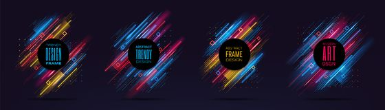 Vector modern frames with dynamic neon glowing lines isolated on black background. Art graphics with glitch effect. Design element for business cards, gift vector illustration