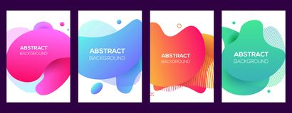 Vector modern futuristic covers set. Abstract poster, flyer templates. Dynamic geometric shapes. Trendy minimal colorful royalty free illustration
